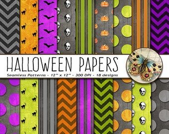 Halloween Digital Paper, Halloween Paper, 18 Halloween Printable Papers, Digital Halloween paper, Halloween Background Paper