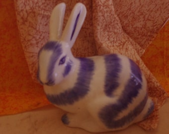 Unique Vintage Hand Painted Blue and White Ceramic Glazed Rabbit Figurine