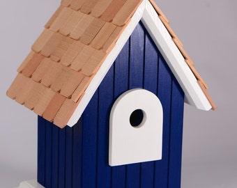 Hand crafted,solid wood birdhouse with cedar roof shingles - Navy Blue
