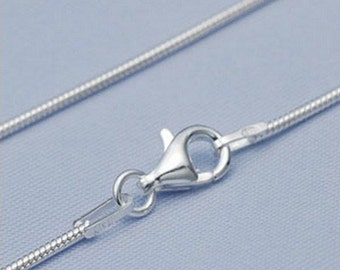 Sterling Silver Snake 2mm Chain Necklace 925 Italy