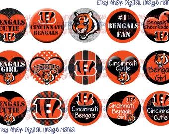 INSTANT DOWNLOAD Cincinnati Bengals INSPIRED 4x6 Digital Printable 1 Inch Circle Bottle Cap Images