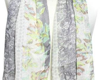 Slate Blended Floral Print Scarf