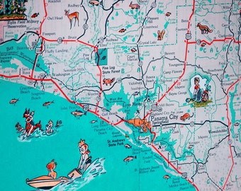 Panama City St Joe Florida Panhandle Beach Retro Map Print Funky Vintage Turquoise Photo Seagrove
