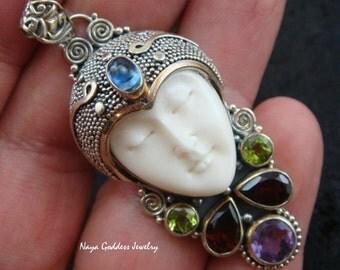 Sterling Silver, Garnet, Amethyst, Peridot, Kyanite Naya Goddess Pendant NG-520