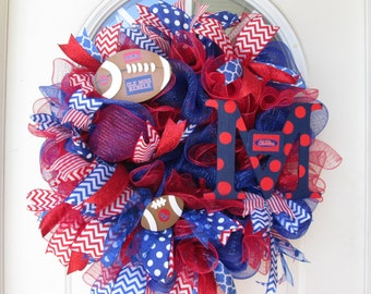 Ole Miss Univ of Mississippi Wreath, Football Wreath, Ole Miss Wreath, College Wreath, Deco Mesh, Red and Blue Wreath
