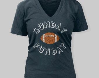 Denver Broncos Women's T-Shirt Sunday Funday Football V-Neck Shirt