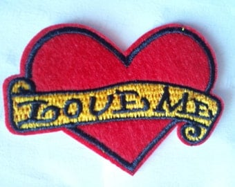Love Me Heart Red applique iron on patch