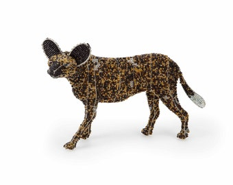 African Wild Dog from the Wild at Art Limited Edition Collection. Handcrafted bead-and-wire African animal figurine