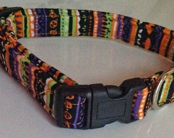 Striped Halloween Dog and Cat Collar with Bats and Pumpkins