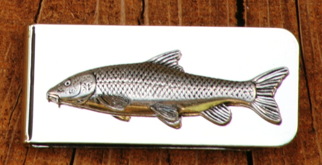 Barbel fish money clip mens engraved fishing gift for Fish for cash