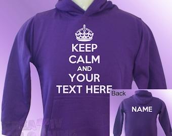 Purple Hoodie KEEP CALM PERSONALISED text and name teenager adults womens ladies