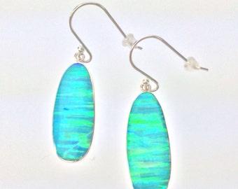 Green Silver Opal Earrings // 925 Sterling Silver // Oval Shape Opal Earrings // Fire Opal