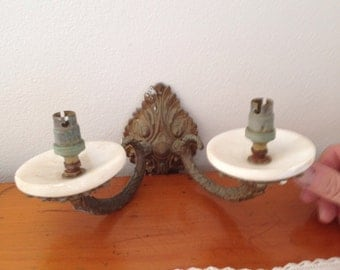 vintage alabaster and spelter light sconce