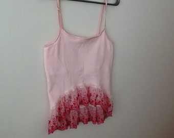 UPCYCLED REFASHIONED, Shabby Chic, Boho, Romantic, Eco, pink Tank Top with Lace. Women's size Medium-Large