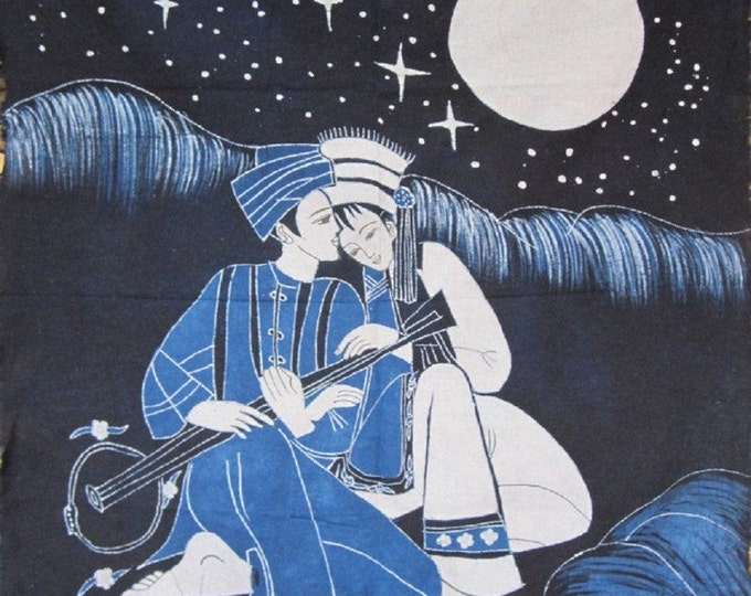 Romantic Moonlight - Chinese Ethnic Batik Painting Tapestry Wall Hanging