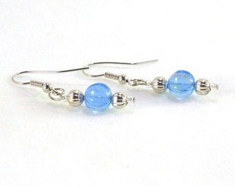 Blue iridescent and silver beaded earrings Dangle earrings Drop earrings Blue earrings Iridescent earrings Beaded earrings Handmade jewelry