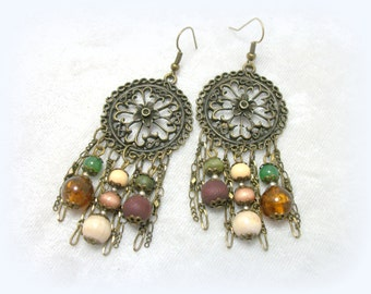 Gypsy Boho Chandelier Earrings - Antique Brass Filigree Chain Fringe Bead Dangles by Cindy Caraway