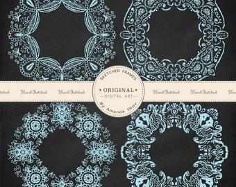 Premium Large Handsketched Henna Frames - Soft Blue Lace Vintage Frames, Henna Clipart, Hand Drawn Frames, Sketched Frames, Lace Frames