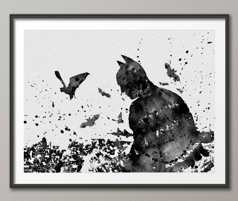 Batman watercolor painting print archival fine art by for Chambre 8x10