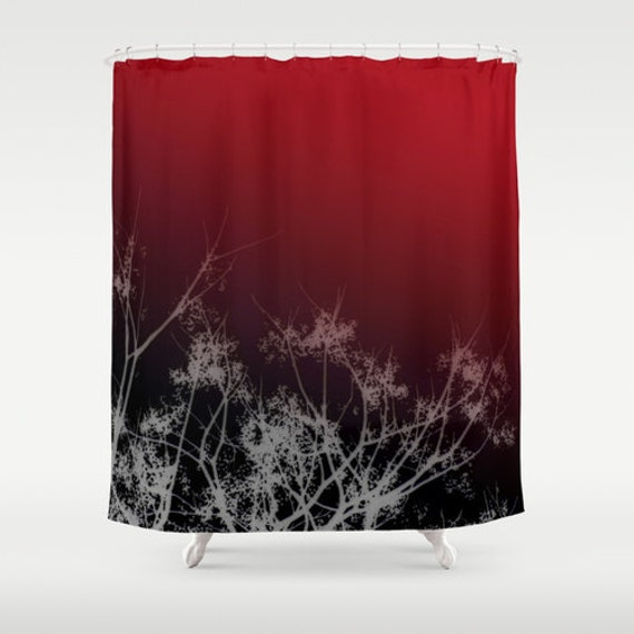 Black Red Sky White Tree Branches Shower Curtain Washable