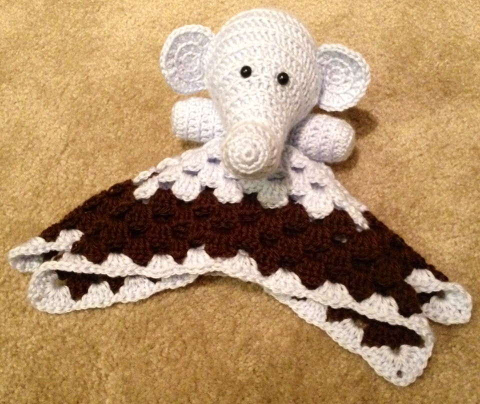 Crochet Elephant Blanket : Crochet Elephant Security Blanket by TheStrawberryPurl on Etsy
