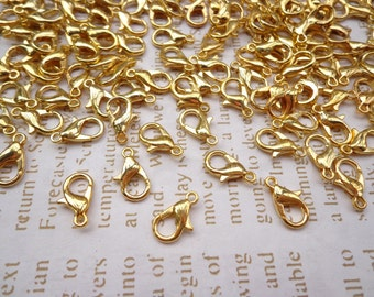 Sale-- 200pcs gold  plated lobster clasps 12mmx6mm