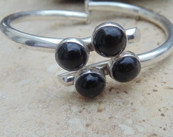 Erika Hult de Corral ~ Pretty Hinged Sterling and Onyx Bracelet