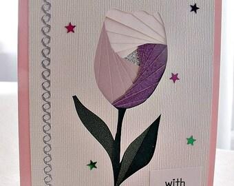handmade iris fold   card – with love