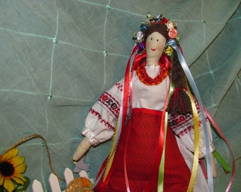 hand made fabrc doll in Ukrainian national costume