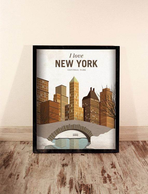 New York. EEUU.  Wall decor art. Poster. Illustration. Digital print. City. Travel.