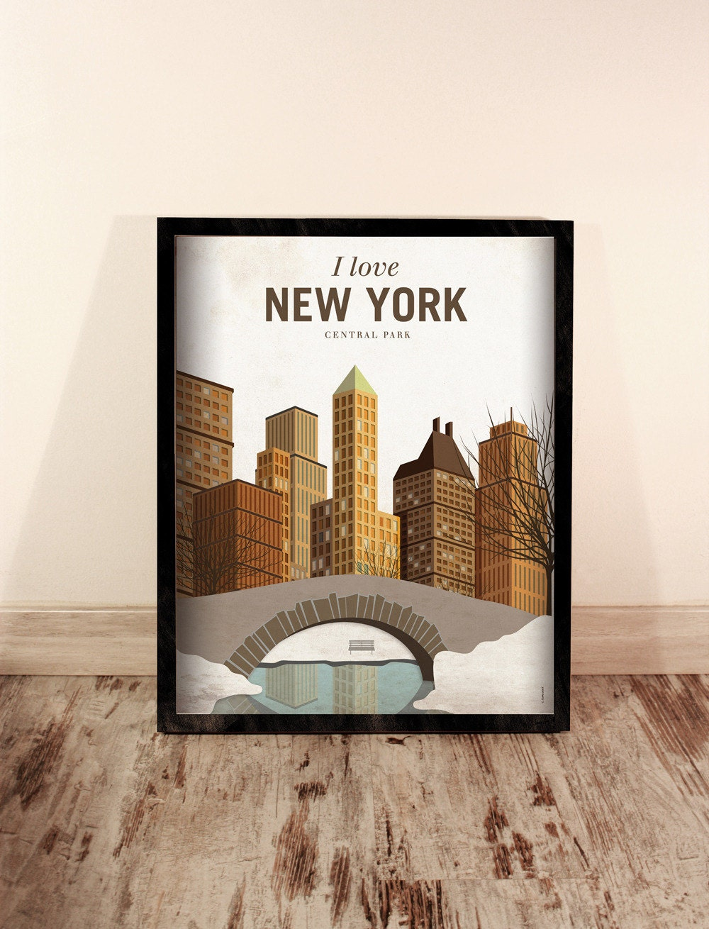 New york eeuu wall decor art poster illustration for New york city decor
