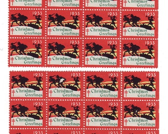 24 1933 American Lung Association Christmas Greetings Stamps