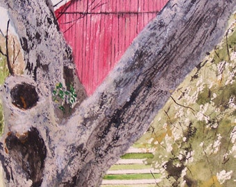 watercolor painting,farm painting,painting scenic, landscape painting,barn painting red barn oak tree,watercolor painting,watercolor art,