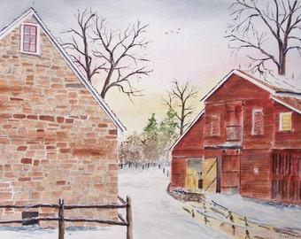 "DUSK REFLECTION""-stone house, farm house scene, landscape, scenic painting, rural country, rural scene, snoe scenes, reflections, trees,"