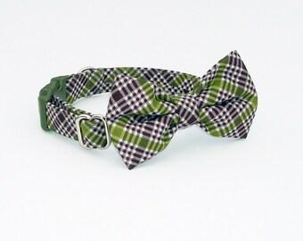 Green Argyle Bowtie Dog Collar
