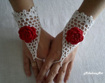 Wedding Gloves, Crochet Mittens, Fingerless Gloves,Crochet Bracelet, White, 100% Cotton.