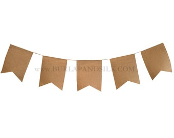 8 inch x 10 inch Burlap Buntings - Swallow Tail Pennant Banners, Burlap Flags