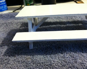 """Doll House Picnic Table, White Handmade to Scale.1""""=1' scale FREE SHIPPING"""