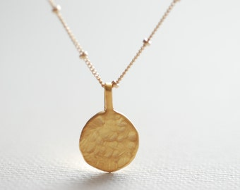 Initial Personalized Gold Disc Charm Necklace, 14 gold Engraved Gold Necklace,Personalized Initial Necklace,Hand Stamp Initial Disc Necklace