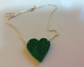 Green sparkle heart necklace