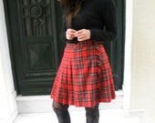 Vintage 90's Scottish Tartan Skirt/ Red Pleated/High-Waisted Skirt/ 90's Clueless /Great Quality/Check Skirt /Tartan-Kilt Skirt/Plaid Skirt/