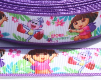 SALE****Dora Character Ribbon 7/8 Inch Grosgrain Ribbon by the Yard for Hairbows, Scrapbooking, and More!!