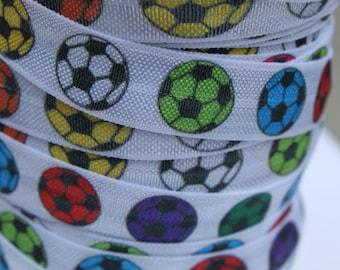 Soccer FOE -Fold Over Elastic 5/8 inch by the yard...Football Print FOE, Headbands, Hair Ties and More!
