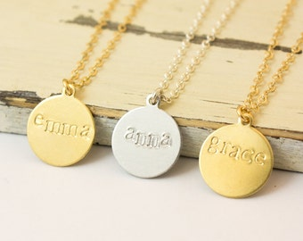 Stamped Name Necklace - Personalized Name Necklace - Custom Name Necklace