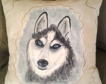 Hand Painted Dog Pillow, Handmade, Overstuffed Decorative, Siberian Husky Dog Painting on Calico Fabric with a Removable Insert