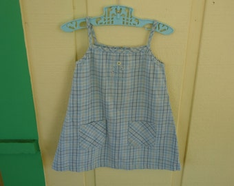 Blue Plaid Tank Top Dress Size 2T