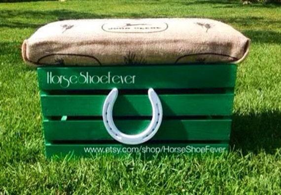 John Deere Ottoman : John deere ottoman white horseshoe wood crate western