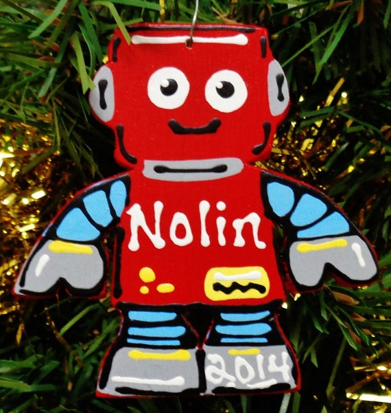 U Choose Name & Date Personalized ROBOT Christmas ORNAMENT