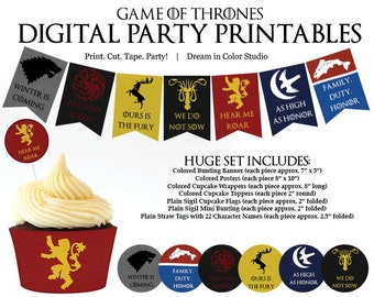 Game of Thrones Digital Party Printables: Cupcake Wrappers, Toppers, Bunting Banners, Straw Flags & More!