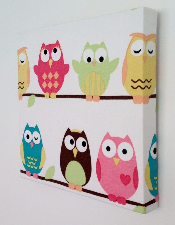 items similar to kids canvas wall art nursery decor owls nursery on etsy. Black Bedroom Furniture Sets. Home Design Ideas
